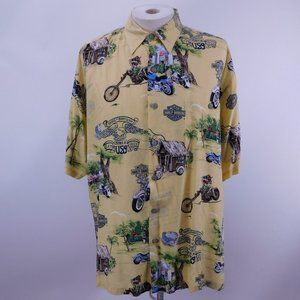 Harley Davidson Motorcycle Yellow Button Down